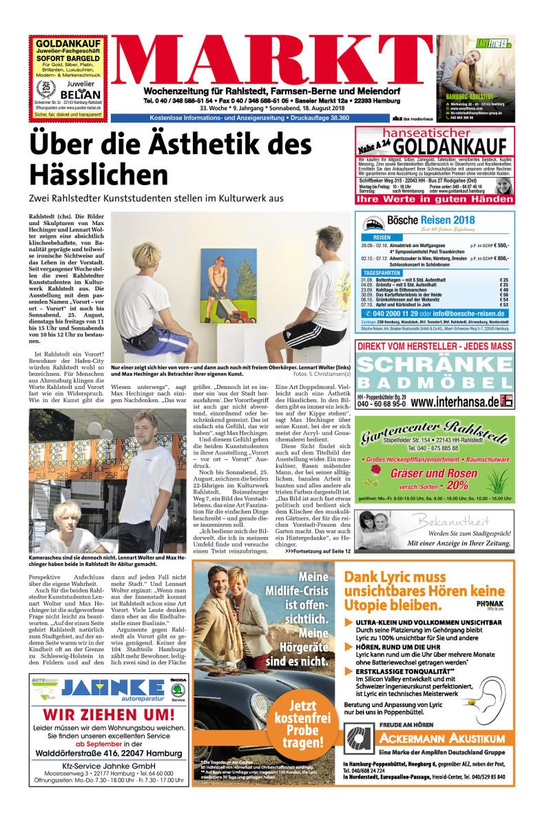 Wochenzeitung Fur Rahlstedt Farmsen Berne Und Meiendorf 18 08 2018