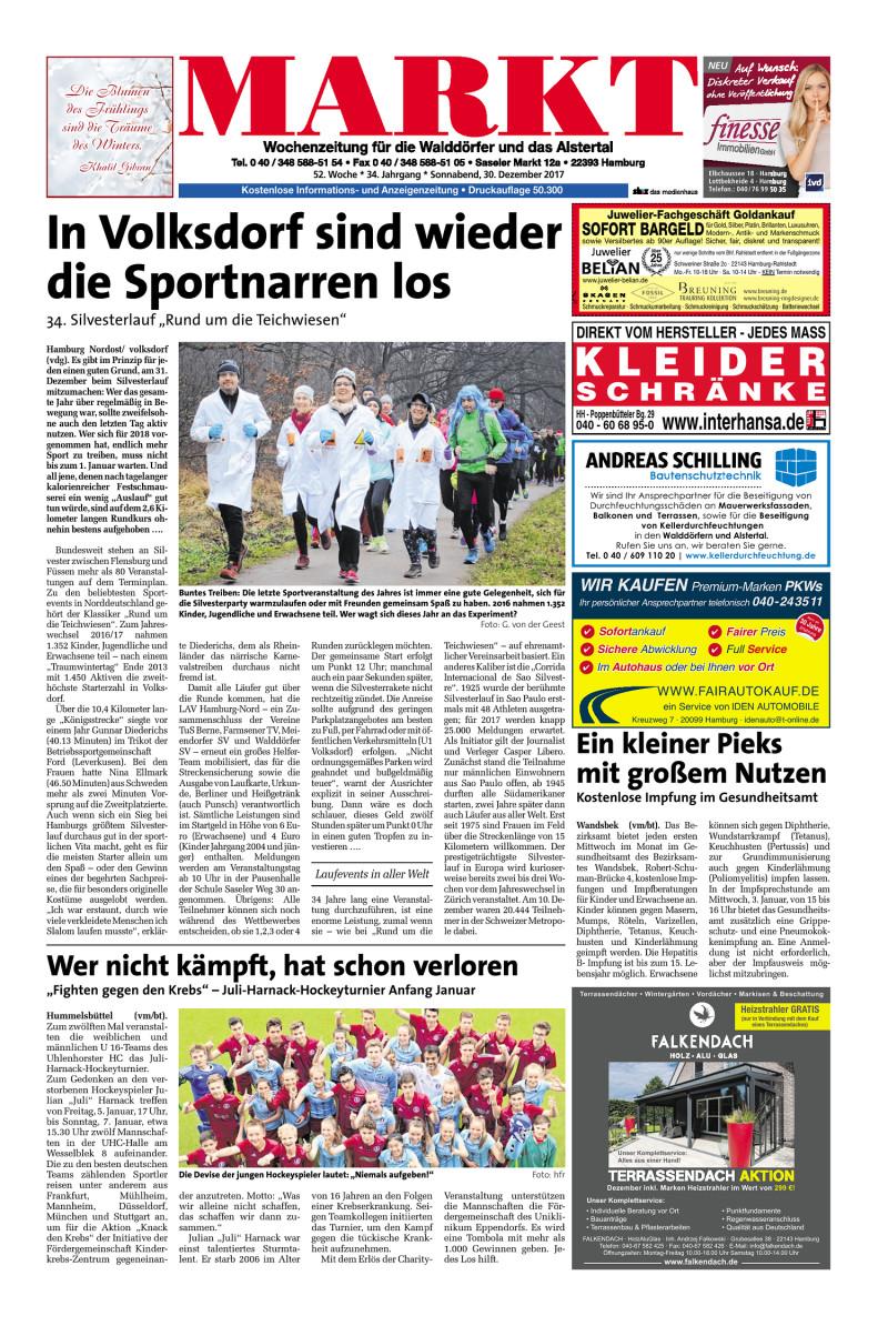 Wochenzeitung Fur Die Walddorfer Und Das Alstertal 30 12 2017