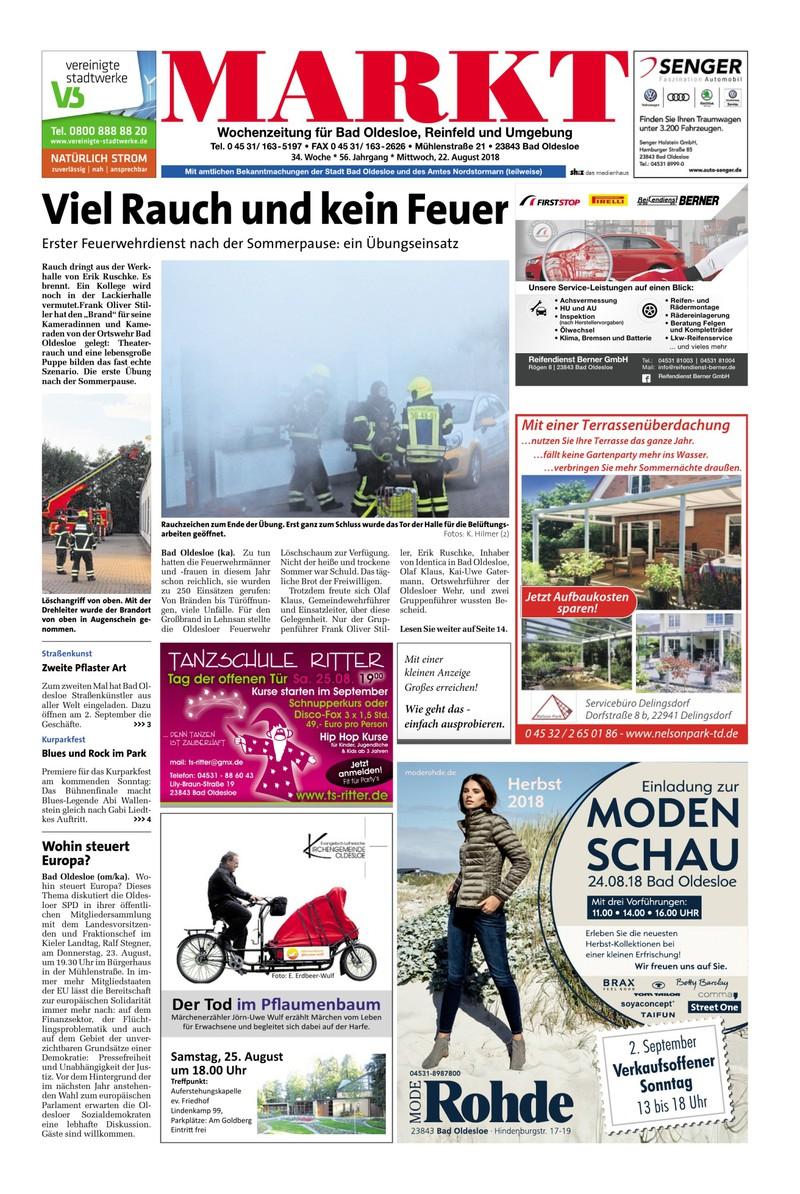 Wochenzeitung Fur Bad Oldesloe Reinfeld Und Umgebung 22 08 2018