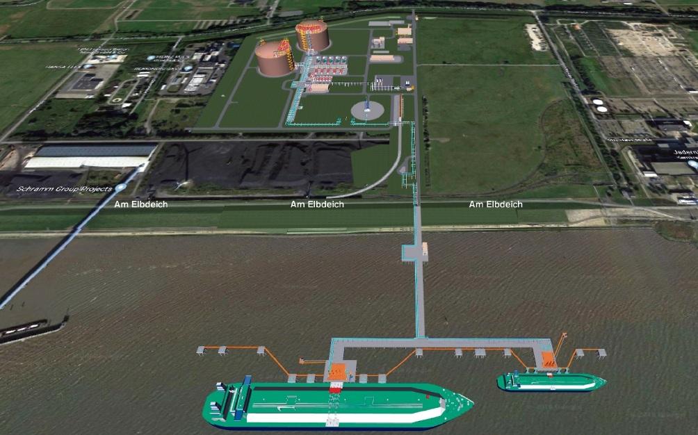 Blick in die Zukunft:  So soll das LNG-Terminal in Brunsbüttel nach den Plänen der Betreiber aussehen.tractebel engeneering
