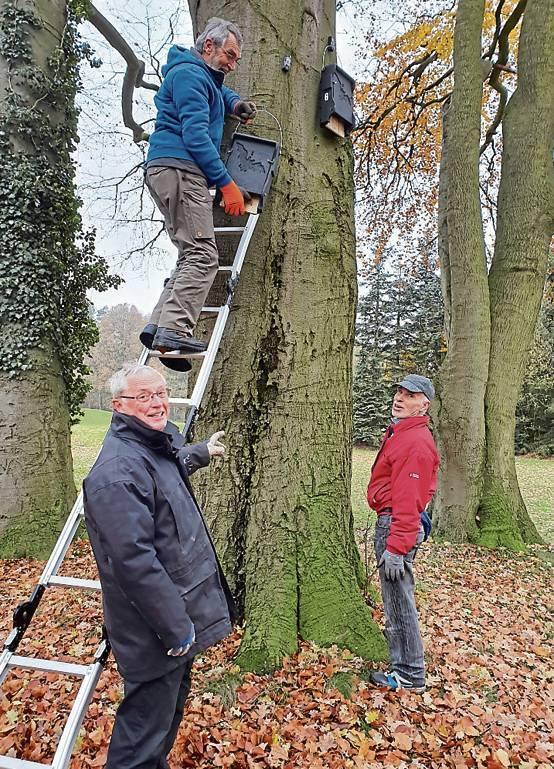 Reinhard Holländer, Wolfgang Riemer und Manfred Lazarus waren drei von insgesamt 20 Helfern, die die Nistkästen auf dem Golfplatz aufhängten. BILD: privat