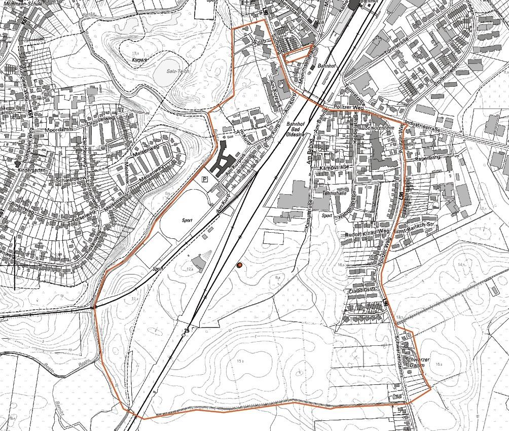 Auf dieser Karte ist der Bereich zu erkennen, der Montag bis 10 Uhr geräumt werden muss. st