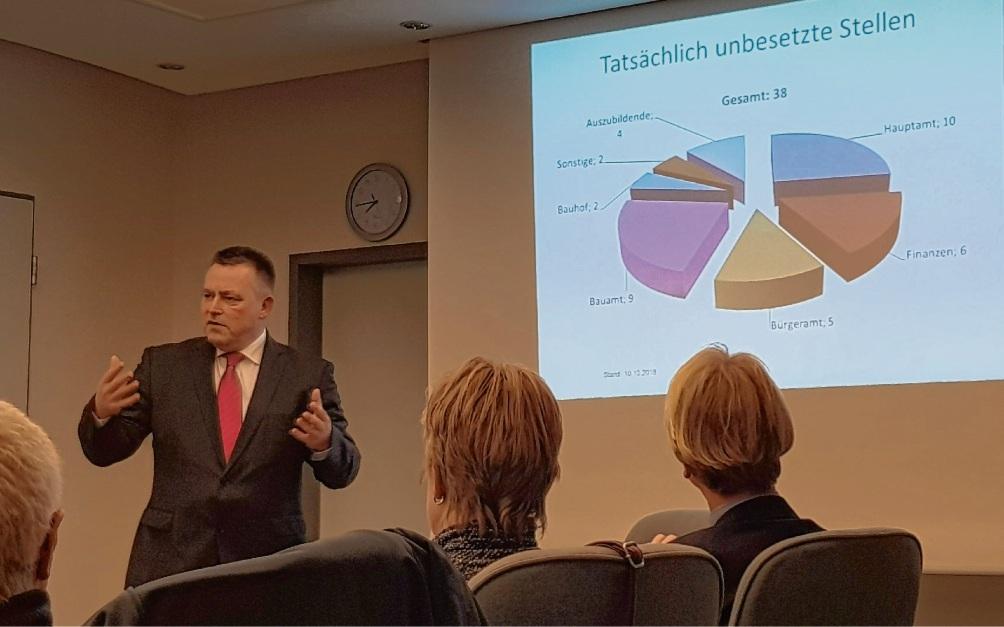 Bürgermeister Jörg Lembke präsentiert dem Finanzausschuss seine Aufgabenkritik.Nie