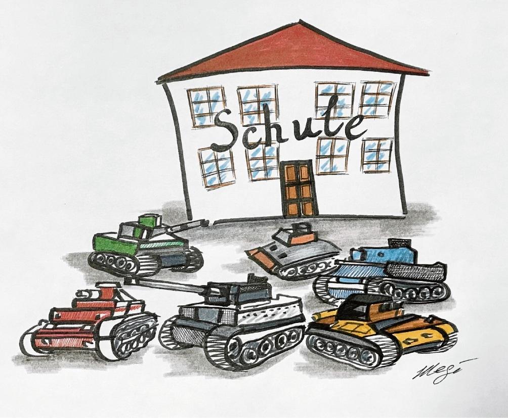 Rundumschutz: Mal sehen, wann Eltern in Panzern vor die Schule fahren ...Megi Balzer