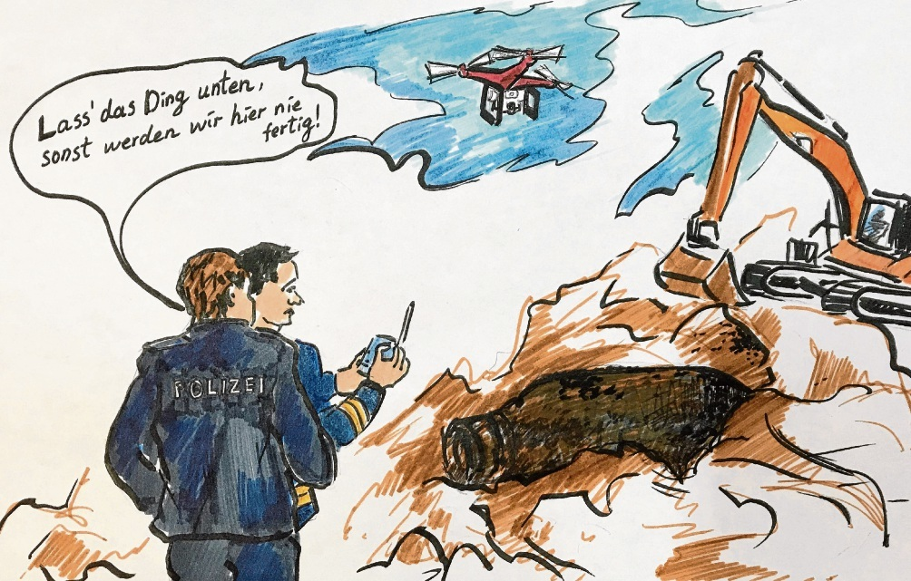 Drohnen-Einsatz bei der Bombenentschärfung in Glinde.Megi Balzer