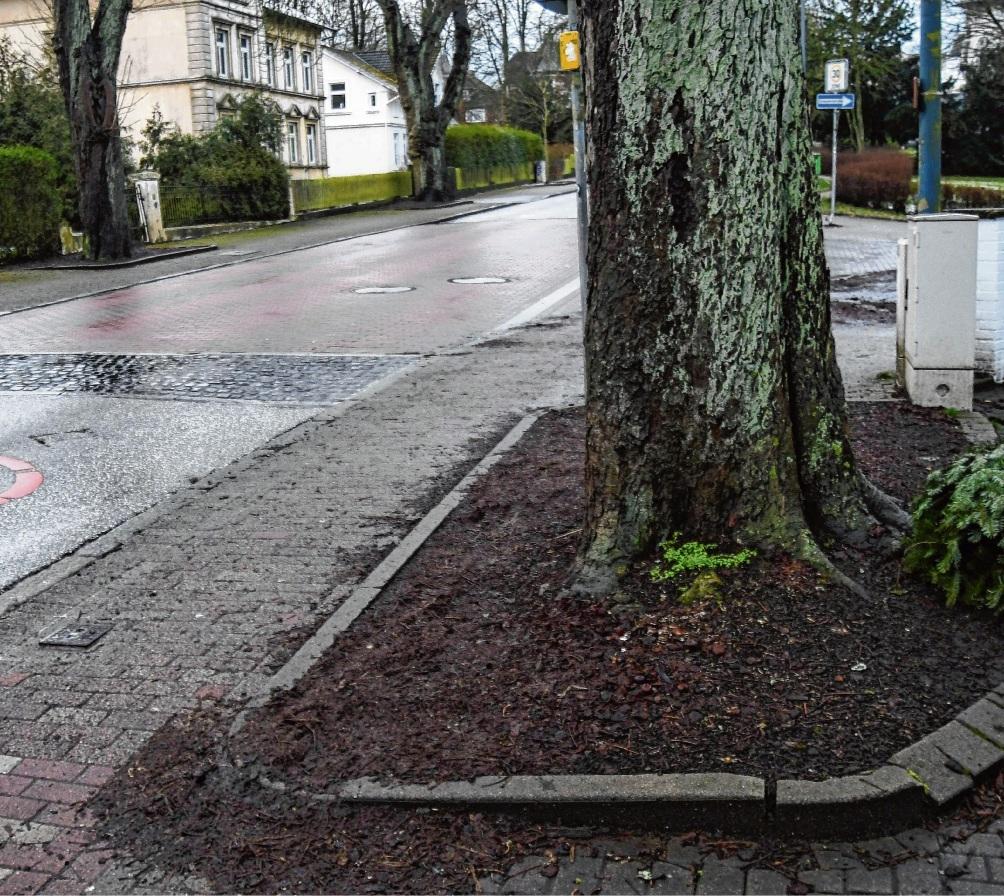 Hier gibt es in der Salinenstraße quasi keinen FußwegNie