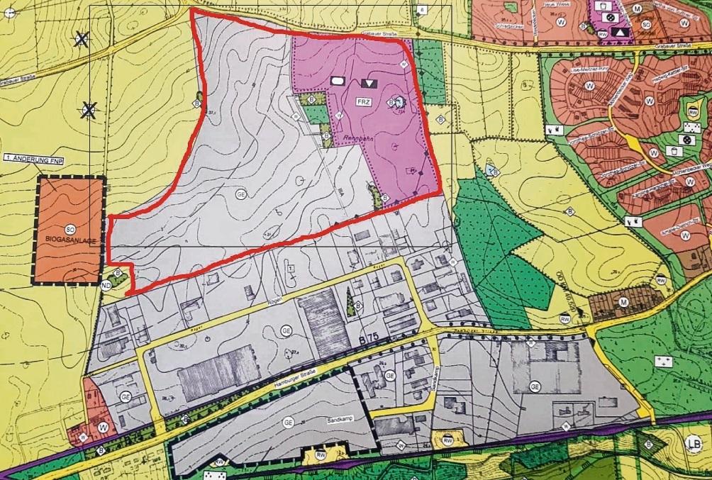 Im rot umrandeten Bereich zwischen dem Rögen und der Grabauer Straße soll das neue Gewerbegebiet entstehen.Nie