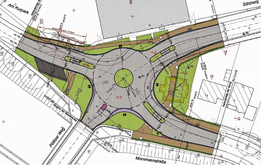 Der neue Kreisel soll das Eingangstor zur Innenstadt Bad Oldesloes aus Richtung Süden bilden. Stadt Bad Oldesloe