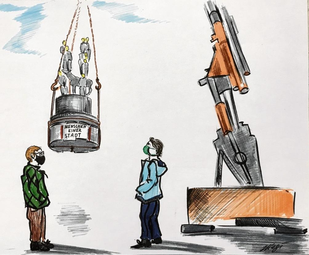 """""""Menschen einer Stadt"""" auf den Haken genommen:  Die  stehen ja auch viel zu dicht zusammen... Megi Balzer"""