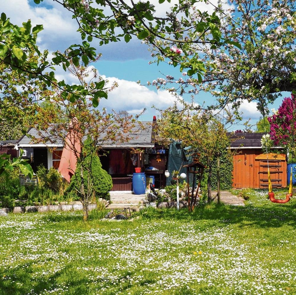 Schaukeln und Spielgeräte für Kinder sind in vielen Kleingärten zu sehen.