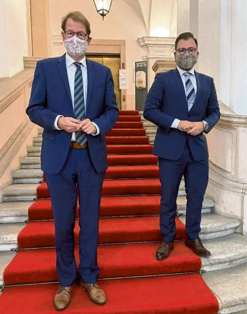 In der Deutschen Parlamentarischen Gesellschaft in Berlin: Marco Magaldi (rechts) und Gero Storjohann (MdB). ST
