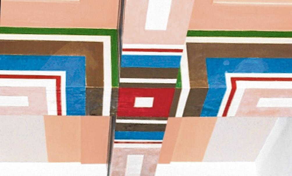Die freigelegten Malereien an der Decke der Theodor-Storm-Schule.  SRP