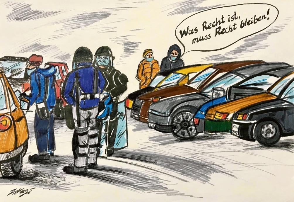 Knöllchenvergabe unter Polizeischutz. Megi balzer