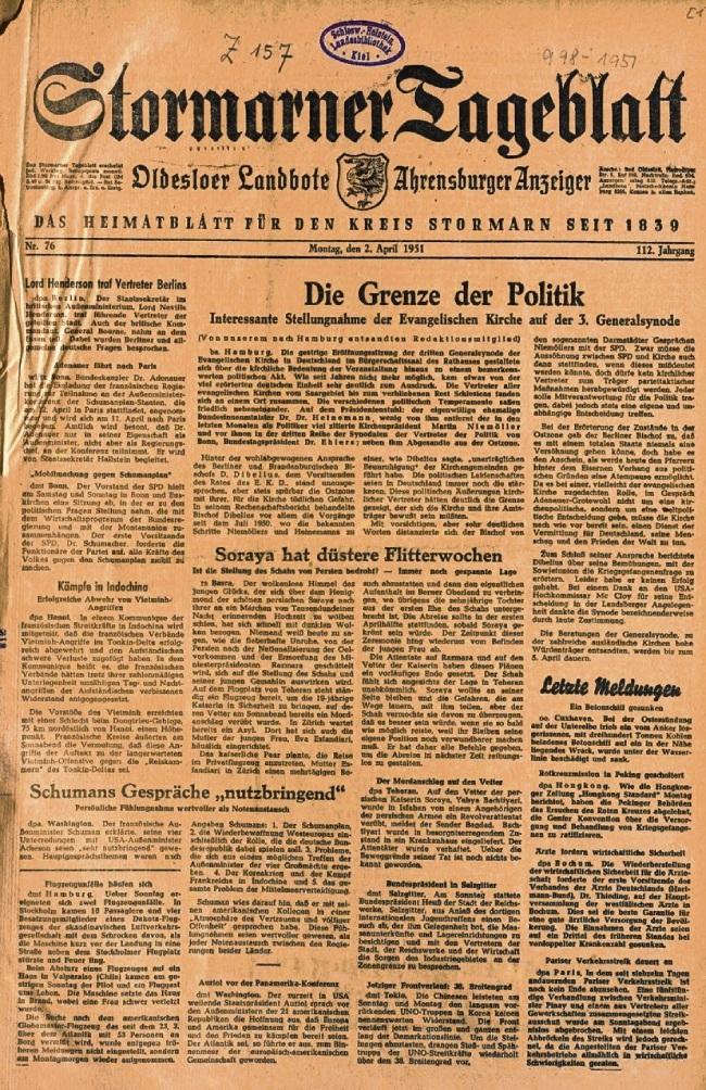 """Die erste Ausgabe als """"Stormarner Tageblatt"""" erschien am 2. April 1951.  Kreisarchiv Stormarn"""