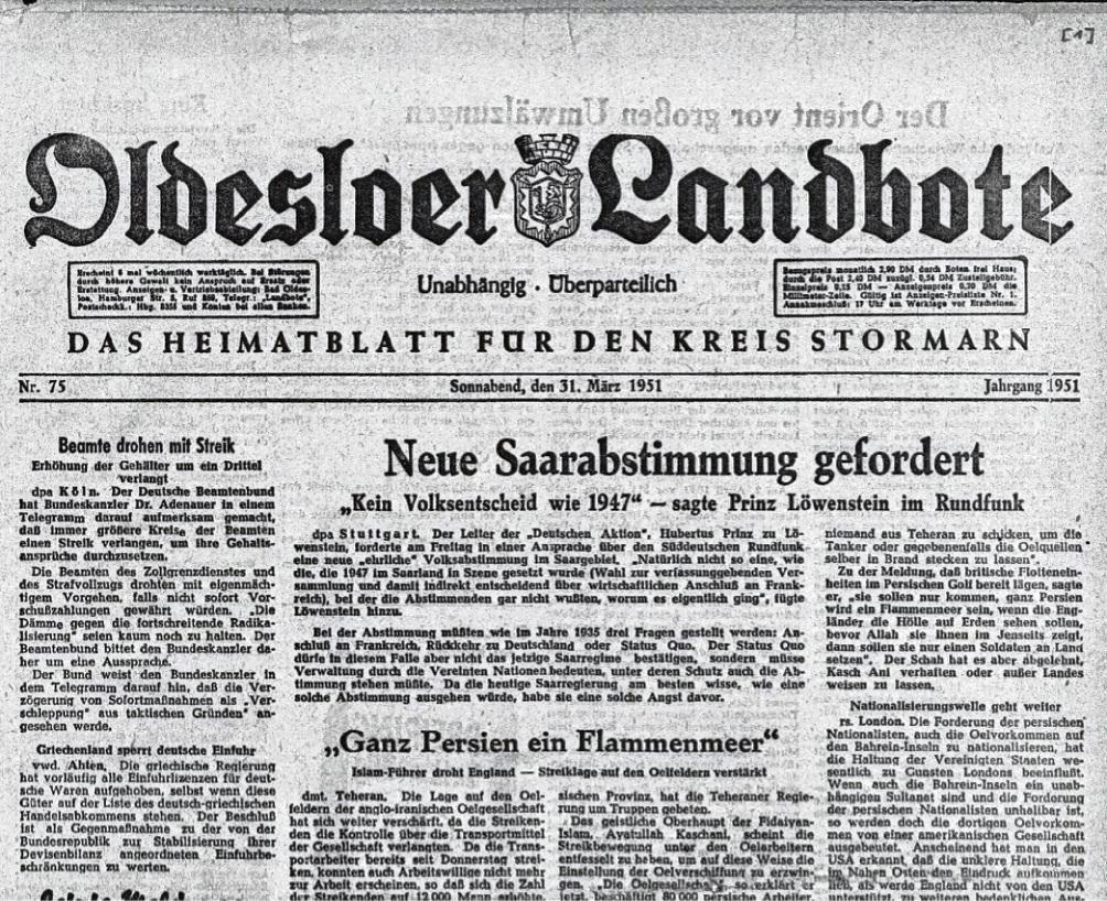 """31. März 1951: Letzte Ausgabe des """"Oldesloer Landboten""""."""