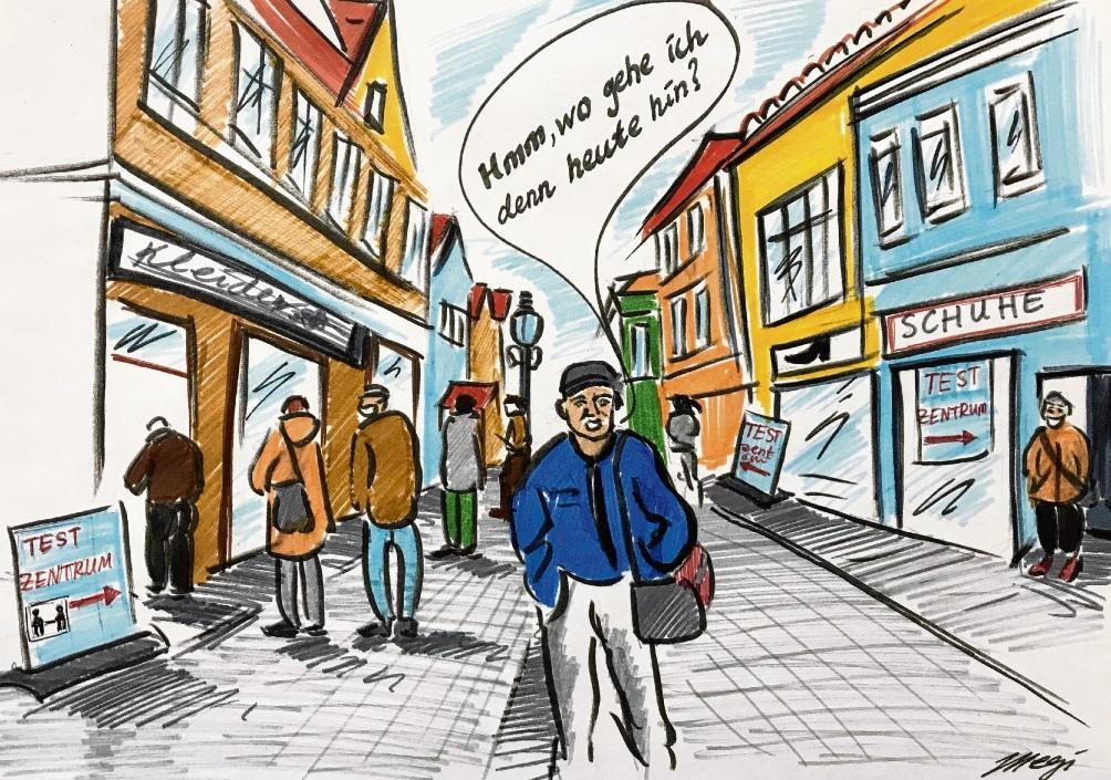 Schnelltest-Stationen gibt es mittlerweile an vielen Ecken. Da haben Testwillige die Qual der Wahl.                     Karikatur: Megi Balzer