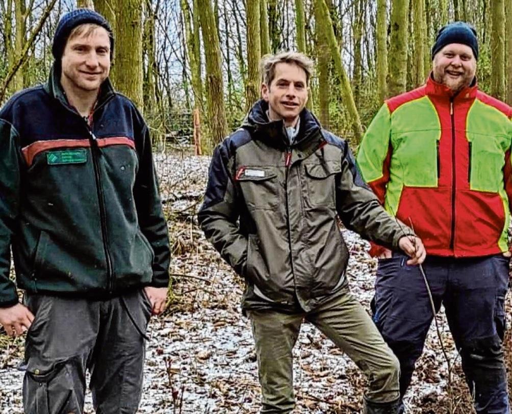 Jens Lübbers (Bezirksförster, v.l.), Marc Schönert (Stadt Bad Oldesloe) und Steffen Burkhardt (Forstbetriebsgemeinschaft) beim Pflanzen der Bäume.  Stadt Bad Oldesloe