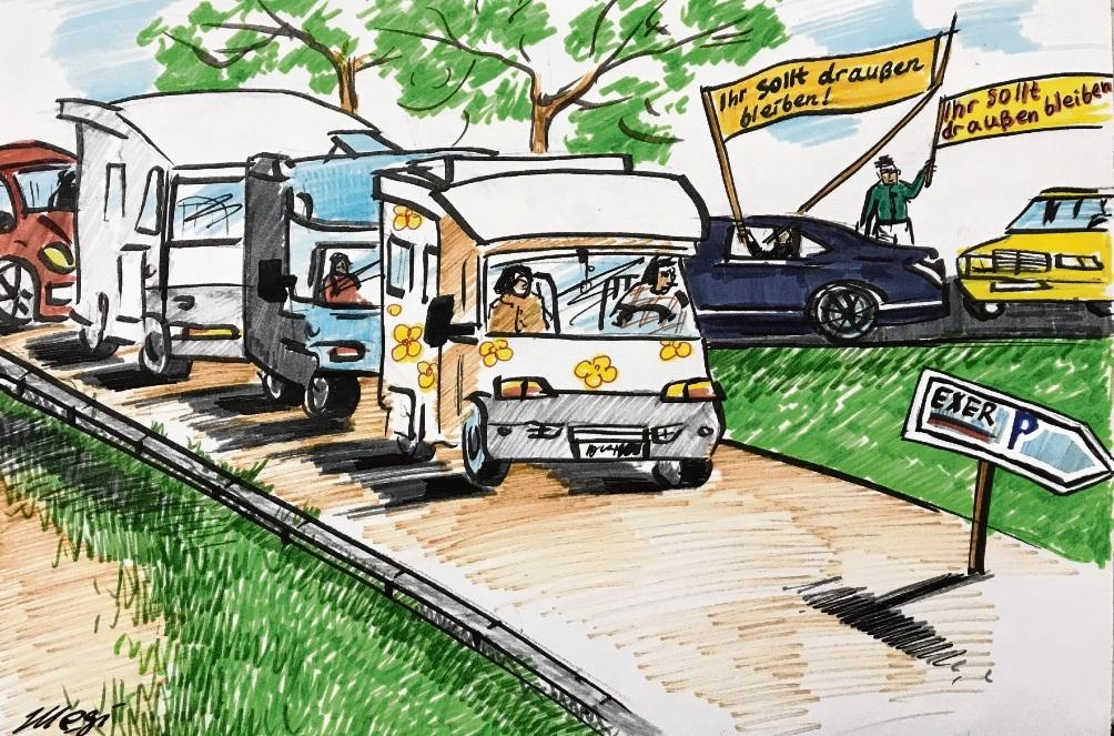 Viel Wirbel um Parkplätze auf dem Exer in Bad Oldesloe.                        Karikatur: Megi Balzer