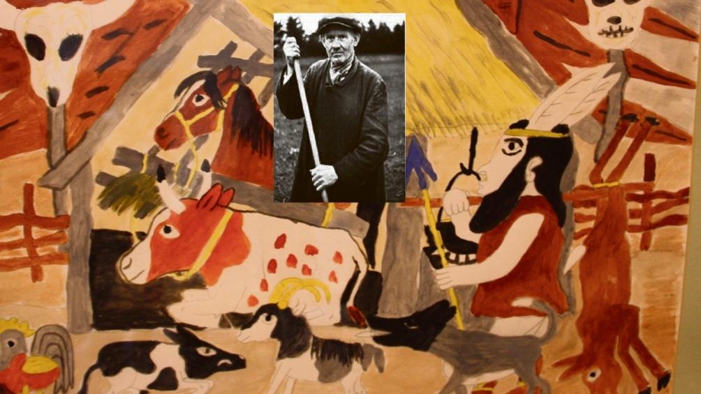 Krischan Thegen (Foto in der Mitte des Bildes) wurde nach seinem Tod als Maler weltbekannt.  privat/Susanne Rohde