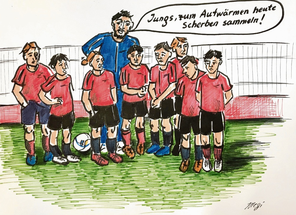 Böses Spiel um den Exer in Bad Oldesloe.                               Karikatur: Megi Balzer