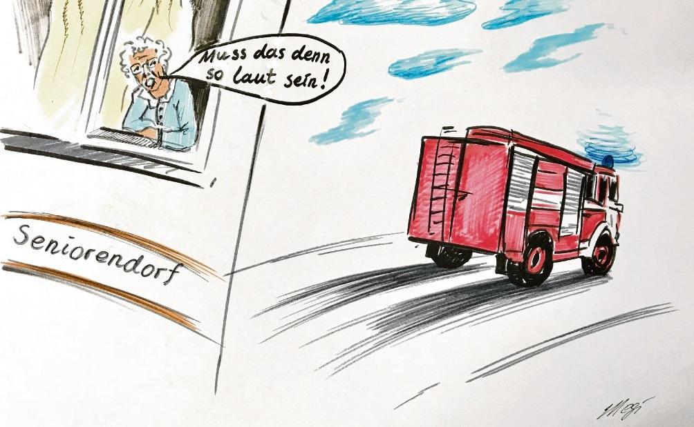 Viel Lärm um eine neue Feuerwache in Bargteheide...Karikatur: Megi Balzer