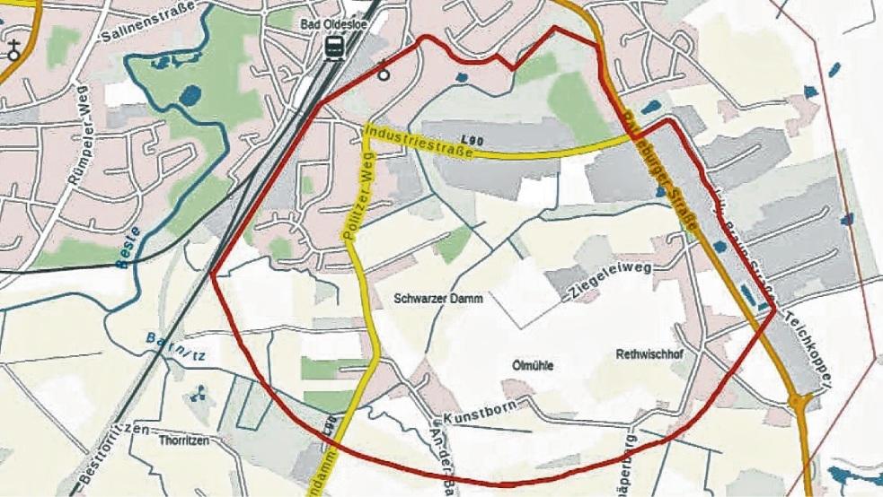 Der Bereich innerhalb der roten Markierung wird evakuiert.  LvermGeo/BKG/Stadt Bad Oldelsoe