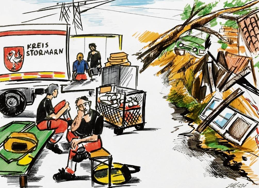 Das lange Warten auf den Einsatz im Katastrophengebiet.                        Karikatur: Megi Balzer