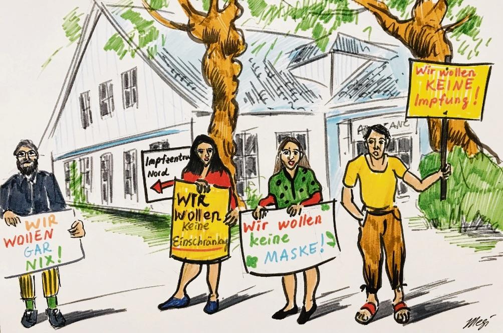 Ein Wort mit x, wir wollen nix.                                   Karikatur: Megi Balzer