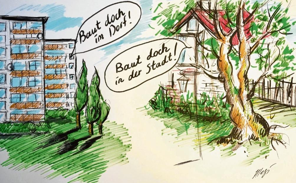 Doch nicht vor der eigenen Haustür...!                              Karikatur: Megi Balzer