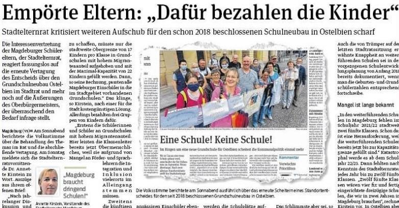 Volksstimme vom 8. Juni 2020: Kurz zuvor hatte Oberbürgermeister Lutz Trümper offen den Bedarf am 2018 beschlossenen Schulneubau für Ostelbien in Abrede gestellt; der Stadtelternrat schäumte vor Wut.