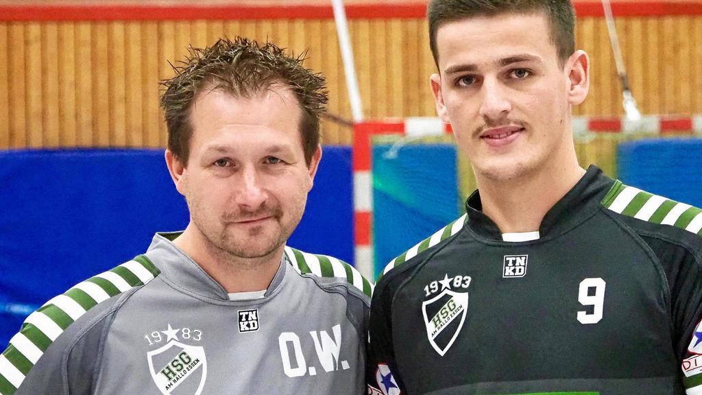 Verstärkung: HSG-Trainer Oliver Wysk und Atdhe Basholi.                                             <b>Meier</b>