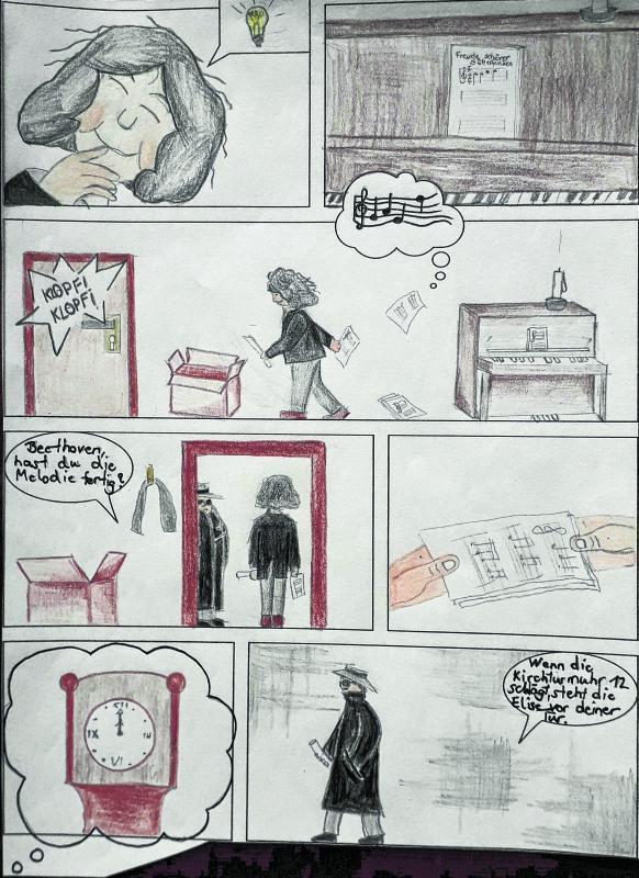 Eine Seite aus dem Beethoven-Comic, den der neunjährige Malte Anselm Schmidt gezeichnet hat. Zu sehen sind Elise, Ludwig van Beethoven und der finstere Ganove.