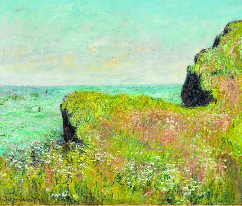 """Das Gemälde """"Rand der Steilküste bei Pourville"""" von Claude Monet. Er arbeitete 1882 daran."""