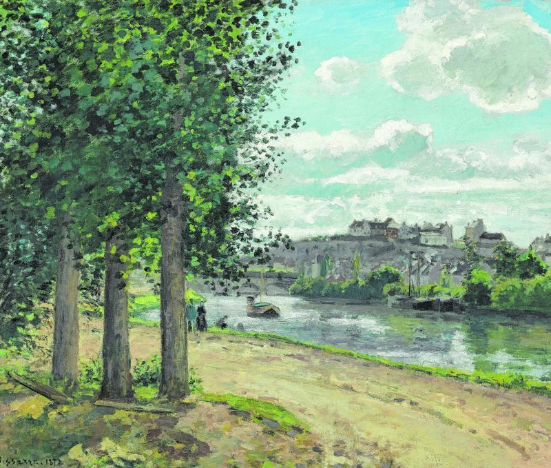 """Dieses Bild malte Camille Pissarro. Es heißt die """"Die Ufer der Oise"""" und entstand im Jahr 1872."""