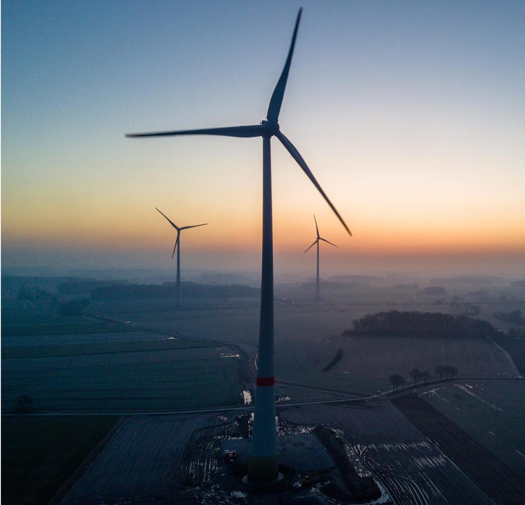 Im Grenzgebiet Sendens zu Lüdinghausen drehen sich die Rotoren des Windparks Aldenhövel. (Niklas Tüns)